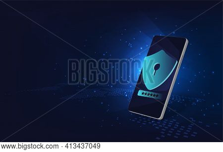 Mobile Data Security Concept.smartphone And  Shield On Screen With Data Protection Element.protectio