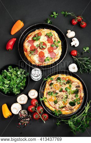 Delicious Fresh Pizzas Variety With Different Souces And Vegetables. Homemade Food Concept.