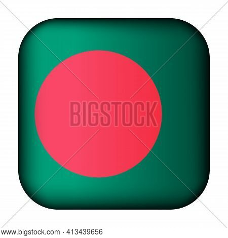 Glass Light Ball With Flag Of Bangladesh. Squared Template Icon. National Symbol. Glossy Realistic C