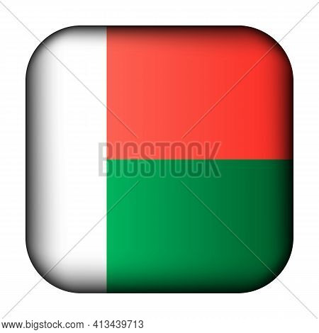 Glass Light Ball With Flag Of Madagascar. Squared Template Icon. National Symbol. Glossy Realistic C