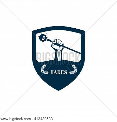 Logo Template Fist Hand Holding  Skull Wand Isolate With Olive Branch With Thunder Symbol Of Greek G
