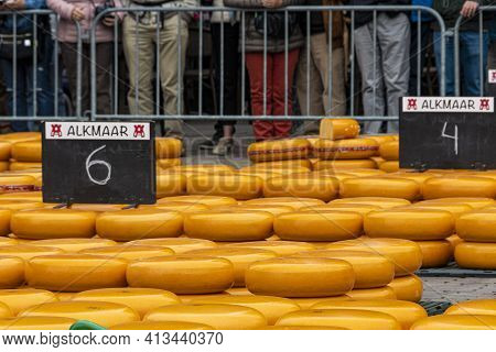 Alkmaar, Netherlands - May 18, 2018: Cheese Market In Central Square