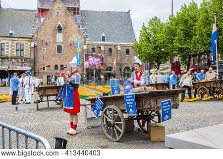 Alkmaar, Netherlands - May 18, 2018: Cheese Market In The Central Square