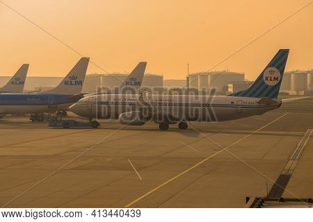 Amsterdam, Netherlands - September 17, 2017: Towing Aircraft Boeing 737-800 (ph-bxa) Klm Royal Dutch