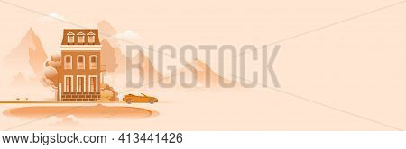 Horizontal Banner, Country House, In A Picturesque Mountain Area, Monochrome Color, Relaxation And S