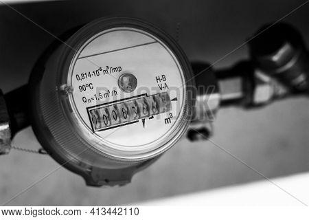 Plumbing And Water Meter Close Up Macro
