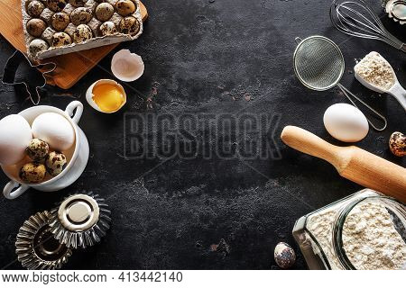 Frame Of Products And Utensils For Baking On A Black Background With Place For Text