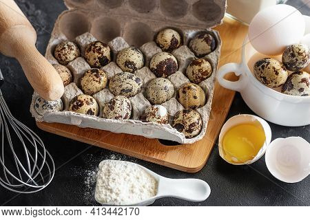 Quail And Chicken Eggs Close-up, Flour, Rolling Pin, Baking Dish