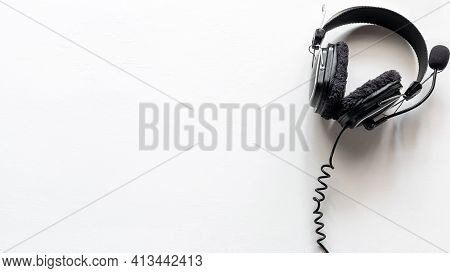 Headphones With Microphone On White Background With Place For Text Concept Remote Work, Operator, Te