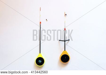 Winter Fishing Rods For Fishing On A White Background