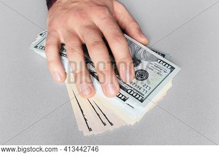Hand And Money On The Table Concept Bribe