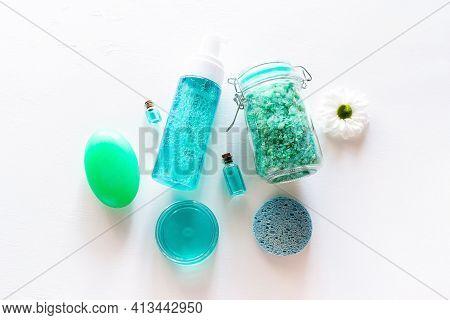 Soap, Cream, Bath Salt - Home Made Organic Cosmetics On White Background