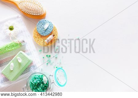 Homemade Organic Spa Cosmetics On A White Background With Space For Text