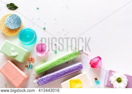 Home Made Soap, Natural Cosmetics, Bath Salt And Flower Petals On White Background