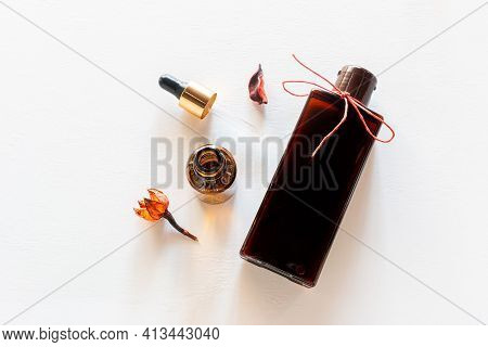 Natural Home Made Cosmetics On White Background
