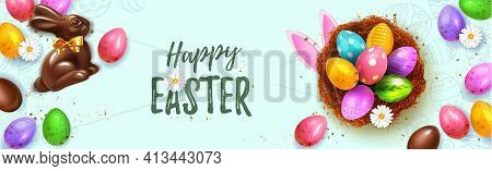 Festive Happy Easter Blue Horizontal Web Banner. Realistic 3d Spring Holiday. Easter Colored Eggs In