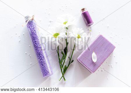 Flowers Soap Bath Salt On White Background