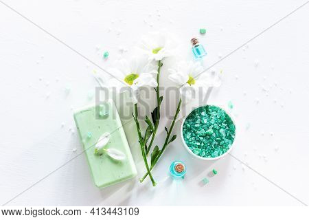 Natural Cosmetics, Bath Salt Soap And Flowers On White Background