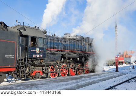 Sortavala, Russia - March 10, 2021: Soviet Freight Steam Locomotive Of The Lv Series Close-up On The