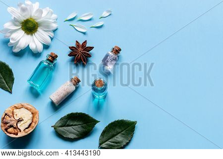 Samples Of Oils, Perfumes, Creams, Cosmetics, Flowers And Walnuts Natural Ingredients Of Natural Cos