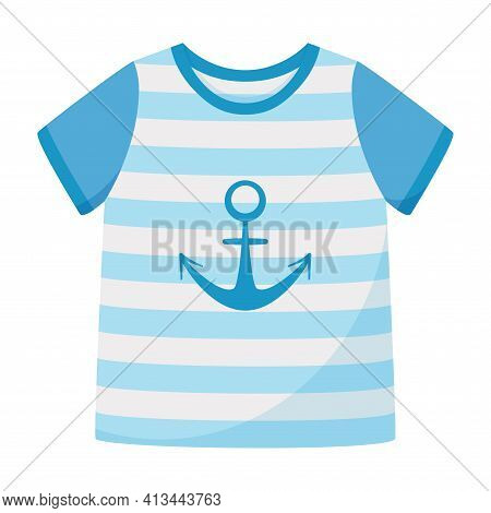 Blue Striped T-shirt With Short Sleeves And An Anchor. Summer Unisex Clothing. Vector Illustration I