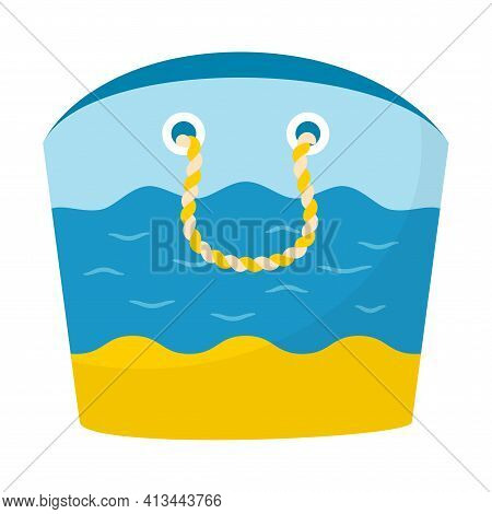 Beach Summer Bag. Three-color Bag With Beach, Sea And Sky And Rope Handles. Open Bag. Decorative Ele