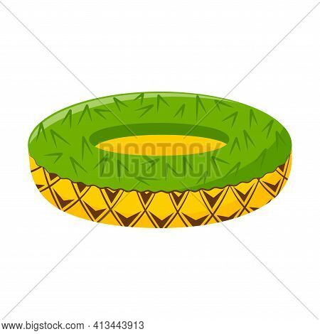 Lifesaving Beach Inflatable Circle For Swimming In The Form Of A Pineapple. A Beachy Summer Accessor