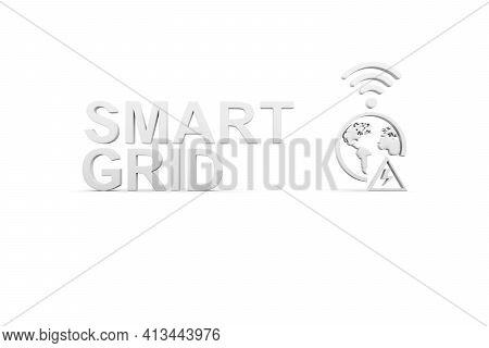 Smart Grid Concept White Background 3d Render Illustration