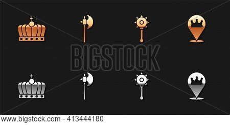 Set King Crown, Medieval Axe, Chained Mace Ball And Location King Icon. Vector