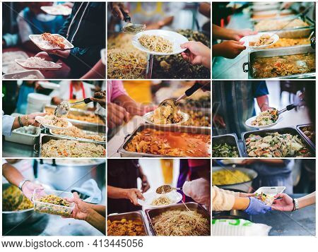 The Concept Of Donating Food And Sharing Food To The Poor