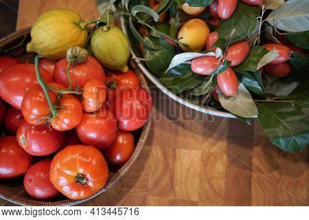 Tomatoes, Lemon, Indian Ivy-rue In Kitchen