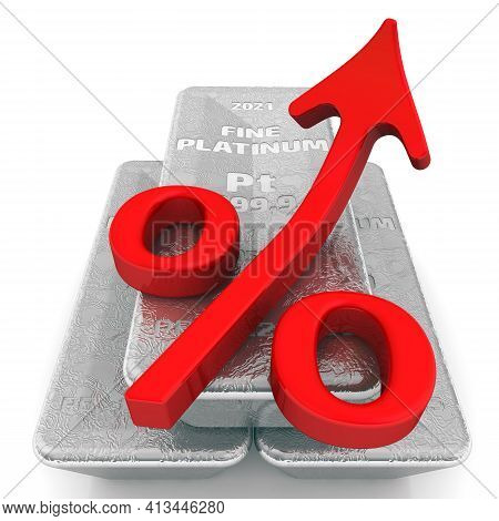 The Rise In The Value Of Platinum. Three Ingots Of 999.9 Fine Platinum And One Red Percentage Symbol