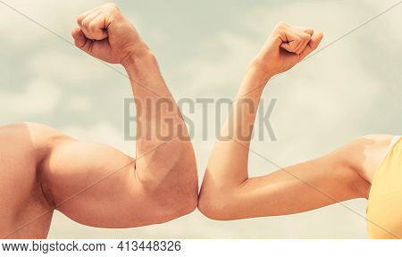 Muscular Arm Vs Weak Hand. Vs, Fight Hard. Competition, Strength Comparison. Rivalry Concept. Hand,