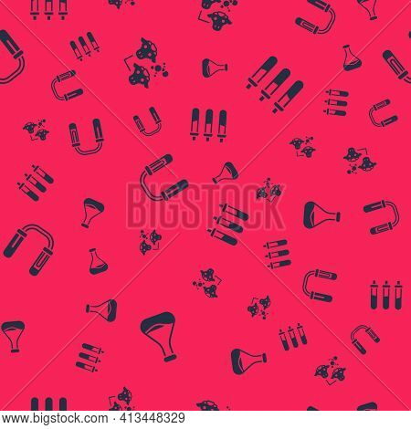 Set Test Tube And Flask, Cloning, And Reagent Bottle On Seamless Pattern. Vector