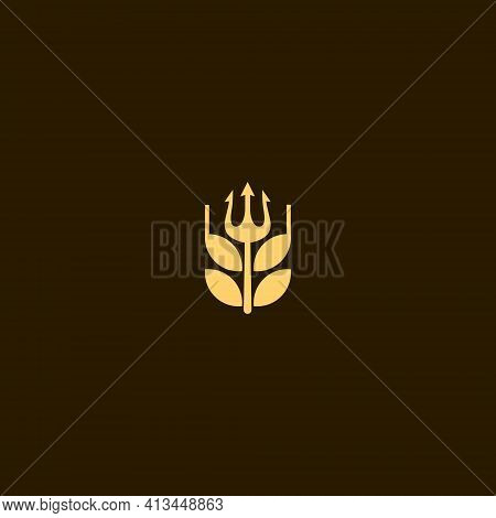Beer Brewer Logo With A Simple Trident Inside, Great For Brewery Brands