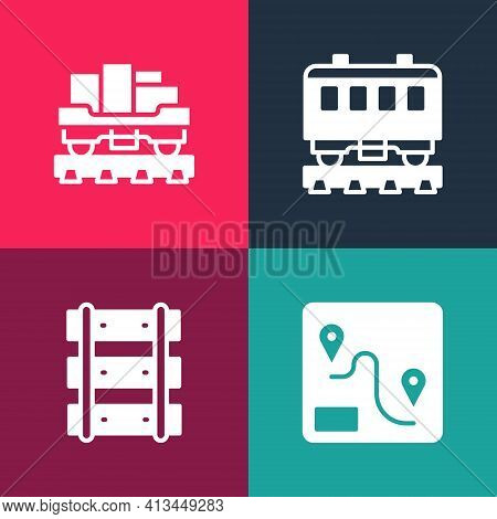 Set Pop Art Route Location, Railway, Railroad Track, Passenger Train Cars And Cargo Wagon Icon. Vect