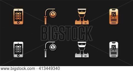 Set Buy Train Ticket Online, Train Station Clock, Conductor And E-ticket Icon. Vector