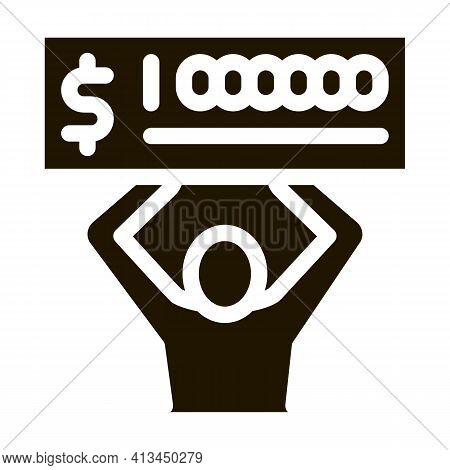 Winner With Check Million Icon Vector Glyph Illustration