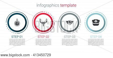 Set Barometer, Aircraft Steering Helm, Aviation Emblem And Pilot Hat. Business Infographic Template.
