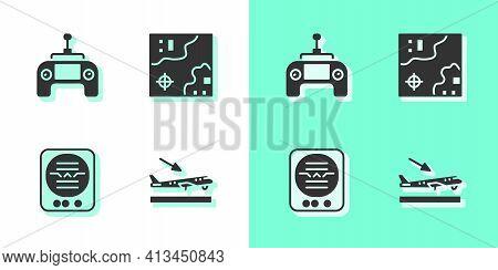 Set Plane Landing, Drone Remote Control, Attitude Indicator And World Travel Map Icon. Vector