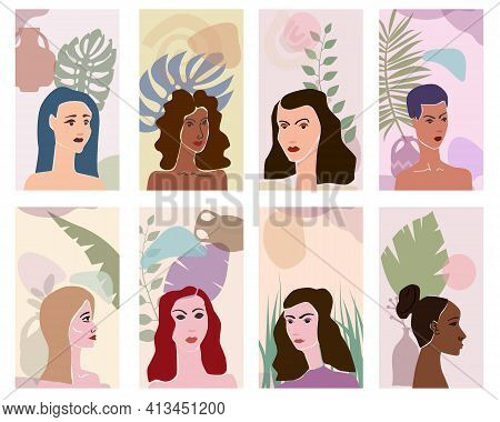 Set Woman Portraites Minimal Abstract Contemporary Style. Female Faces Flora Leaves Shapes Vase Silh