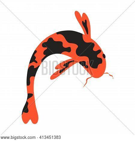 Koi Carp. Japanese Koi Fish. Chinese Goldfish. Koi Symbol Of Wealth. Aquarium Fish. Vector Stock Ill