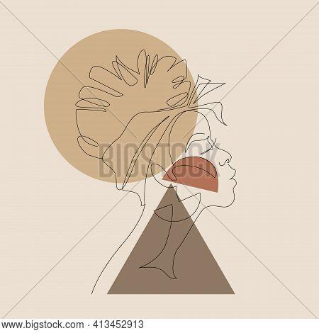 Black Woman Afro Portrait With Geometric Shapes Background. Female Profile Continuous Line Art. Blac