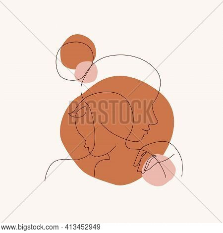 Abstract Mother With A Child In Continuous One Line Drawing Art Style. Mother`s Day Card. Woman Hugg