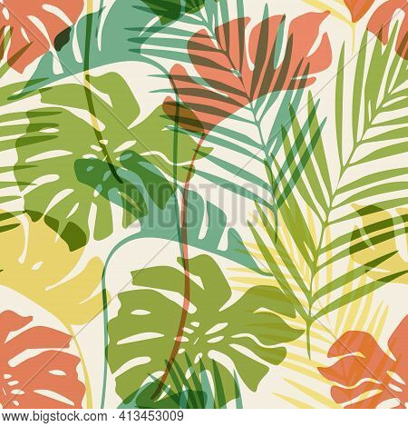 Hand Drawn Abstract Tropical Summer Background: Colorful Palm Leaf, Monstera Leaves Silhouettes.