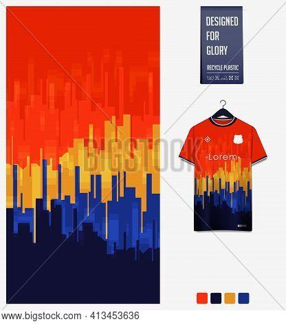 Soccer Jersey Pattern Design. Abstract Pattern On Orange Background For Soccer Kit, Football Kit, Bi