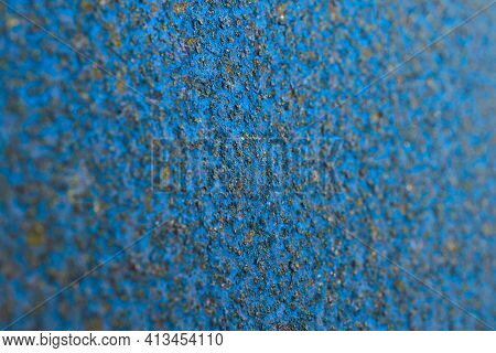 Unusual Industrial Background Or Wallpaper In Blue And Black Colors. Rough Textured Matte Surface. R