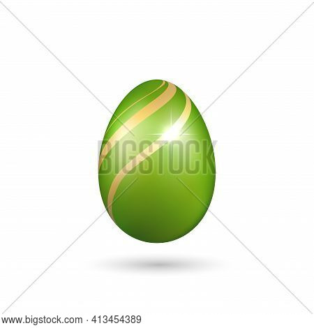 Easter Egg 3d Icon. Green Gold Egg, Isolated White Background. Bright Realistic Design, Decoration F