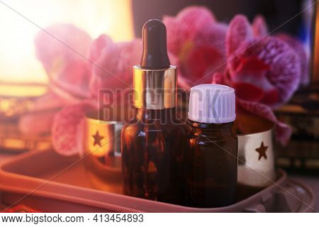 Set For Aromatherapy. Aroma Oil, Aroma Lamp, Orchid.
