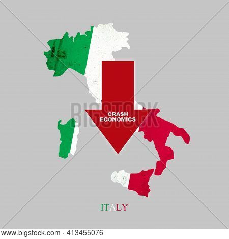 Crash Economics Italy. Red Down Arrow On The Map Of Italy. Economic Decline. Downward Trends In The